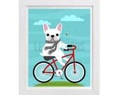 94D - Dog Art - White French Bulldog on Bicycle Wall Art - Bicycle Art - Red Bicycle Print - French Bulldog Wall Art - Funny Dog Drawing