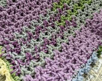Hand Crocheted ~ Spring Colors Baby Blanket
