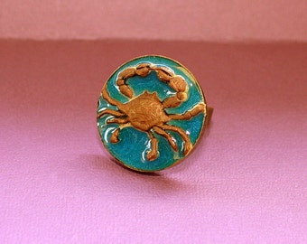 Crab Ring -Adjustable Ring - Epoxy Clay - Nautical Collection