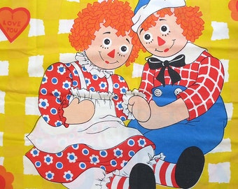 Vintage Raggedy Anne and Andy Twin Flat Sheet & Pillowcase  - I Love You - Mint Condition