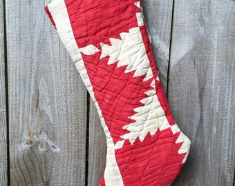 One Vintage Upcycled Red Quilt Holiday Christmas Stocking