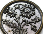 XL 1800s metal BUTTON, Victorian Flowers in silver.