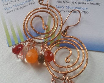 Copper Spiral Drop Earrings