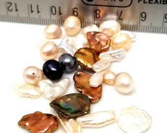 Destash 30 Assorted Colors Earth Tones Freshwater Pearl Beads