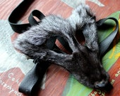 Real eco-friendly silver fox fur mask - shaped and ready to wear - for ritual, dance, costume and more