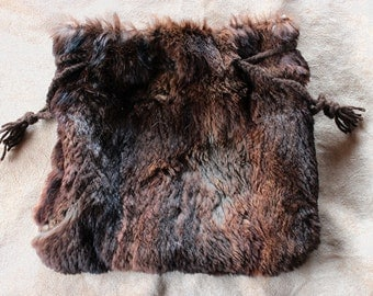 Large vintage upcycled sheared beaver fur drawstring pouch with braided yarn drawstrings dice tarot runes crystals