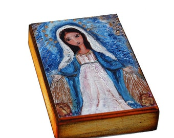 Virgen Milagrosa - ACEO Giclee print mounted on Wood (2.5 x 3.5 inches) Folk Art  by FLOR LARIOS