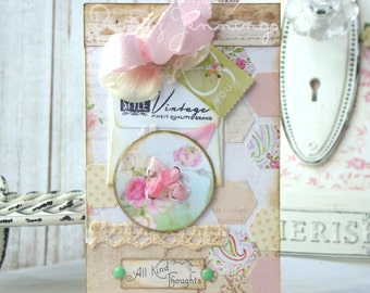 All Kind Thoughts Shabby Chic Handmade Card