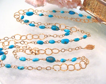 Long Chain Turquoise Gold Necklace