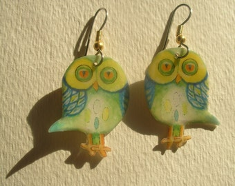 Signed Stephen Dalton Half Baked Ideas Lime Owl Earrings