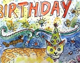 Happy Birthday, Cat Birthday Card, Birthday Cat, Watercolor Cat, Watercolor Card, Hand Painted Card, Handmade Card