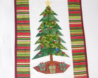 Christmas Tree Wall Hanging, Holiday Wall Hanging, Embellished Wall Hanging, Quiltsy Handmade