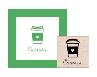 To Go Coffee Cup Personalized Rubber Stamp