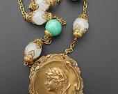 ON SALE Art Nouveau Necklace, Peking Green Bead Necklace, Vintage Assemblageg Necklace, Bohemian Goddess Necklace, Ecofriendly Statement Nec