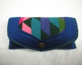 FREE SHIP Southwestern Blue Pink Green Wool Glasses Case with Pendleton indian blanket inlay and blanket stitched edge Bearly Art Designs