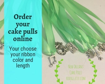 New Orleans Cake Pulls, 12 charms, Set 1, ribbons, YOU choose ribbon color and length bridesmaids charm cake wedding bride bridesmaid game