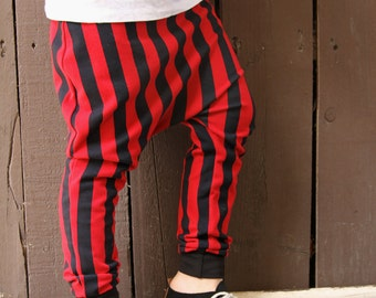 Baby Boy Baby Girl Red and Black Vertical Striped Harem Pants: Etsy kid's, toddler fashion, baby halloween costumes, toddler pirate pants