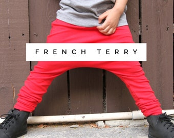 Baby Girl Baby Boy Soft and Cozy Red, Black, Orange, White French Terry Harem Pants: Etsy kid's fashion, toddler boy, toddler girl, joggers