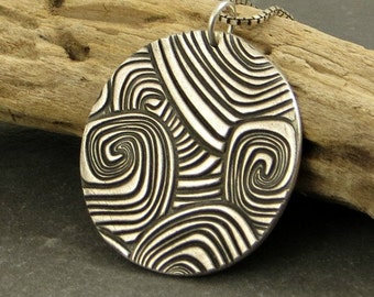 Wave  Pendant Necklace Fine Silver Necklace Large Pendant Rustic Jewelry Gifts for Her Ready to Ship