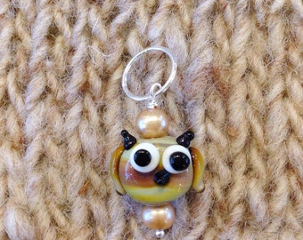 Handmade Lampwork Great Horned Owl Charm, Planner Charm, Stitch Marker, Filofax, Phone Charm, Zipper Pull