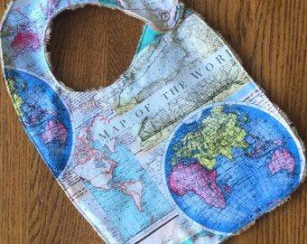 World Map Minky Baby/Toddler Bib