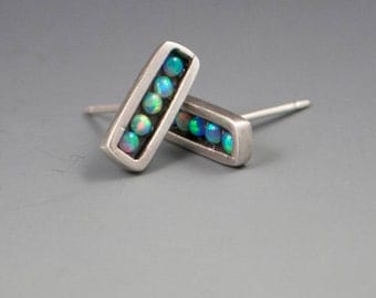 Bar Mosaic Stud Post Earrings