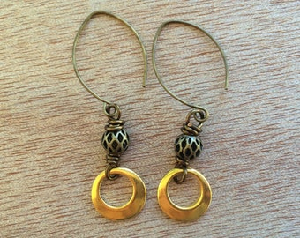 E469 Gold and Brass Earrings