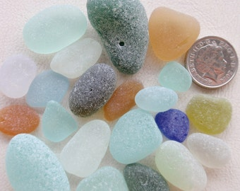 English sea glass blue,yellow,orange,teal,seafoam,etc etc all very frosted