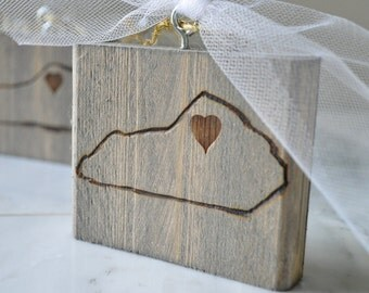 Custom Wedding Favor Christmas Ornament Wood Burn State Set of 50
