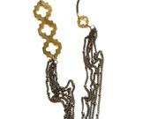 Multiple chain necklace - brass quatrefoil necklace -