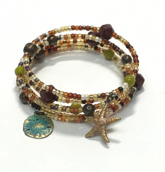 Mixed Browns wrap bracelet with Star Fish and Sand Dollar