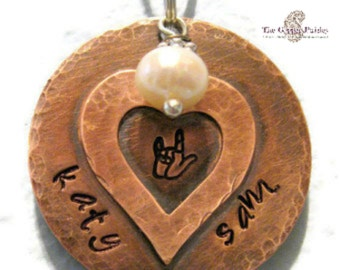 ASL I Love You Copper Necklace - Personalized Sweetheart Names made to order