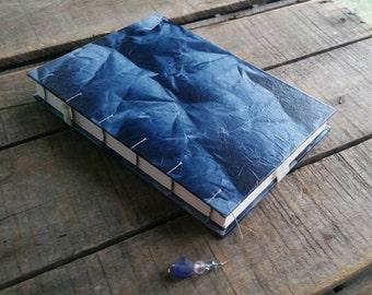 Large Blue Crinkled Lokta Journal, Handmade Blank Coptic Stitch Art Journal, Blue Crinkled Lokta Sketchbook, Lokta Wedding Guest Book