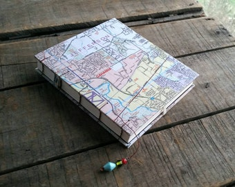 Medium Ohio Map Journal, Blank Coptic Stitch Ohio Map Travel Journal, Midwest Vacation Notebook, Central Ohio Franklin County Art Journal