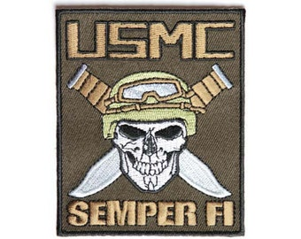 USMC Skull with Crossed Knives Patch
