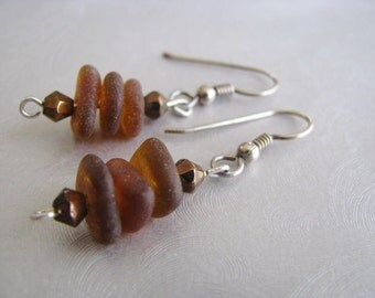 Amber Brown Stacked Seaglass Earrings - Sterling Silver - Dangle Earrings