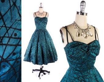 Vintage 50s Dress // 1950s Dress // Flocked Dress // TEAL Dress w/ Cage Straps // Cage Dress - sz XS - 25 Waist