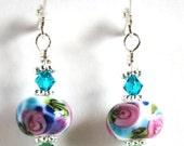 On Sale Pink Rose Earrings, Lampwork Bead Earrings,  Dangle Earrings, Handmade Beads