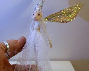 ooak poseable large wings SNOW FLAKE sugar plum Fairy ( #10 ) pixie elf polymer clay art doll by DinkyDarlings