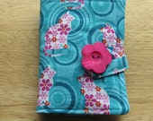 Tea Wallet in Pink and Fuchsia Flowers on White Cats on Aqua Circles Background, Tea Bag Holder