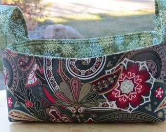 Fabric Basket Bin Storage Organization in Green, Red, and Cream Paisley and Flowers Small Size