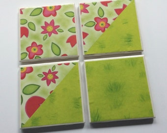 Bright Green and Floral Tile Coasters - Set of 4