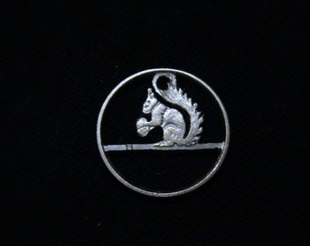 NORWAY - cut coin pendant - SQUIRREL - 1970