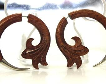Fake Gauges Earrings,sliver tip,Earrings,wood Earrings ,Tribal Expander Split,organic,plugs