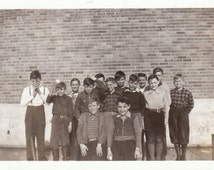 Original Vintage Photograph Snapshot Fun Group of Boys Posing by School 1930s