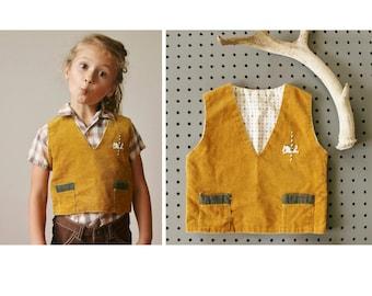 1940s Mustard Carousell Vest~Size 2t/3t