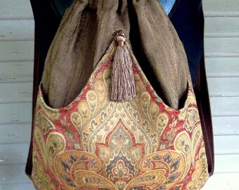 Rust and BrownTapestry  Backpack Boho Backpack Renaissance Backpack brown tassel rich tapestry