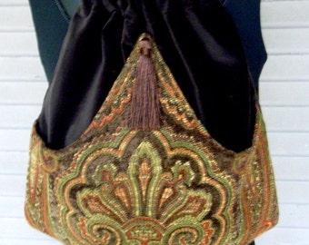 Brown Velvet Backpack Medallion Chenille Renaissance Book Bag