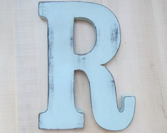 rustic  wood letter r distressed shabby chic nursery or wedding decor chalk paint choice of colors