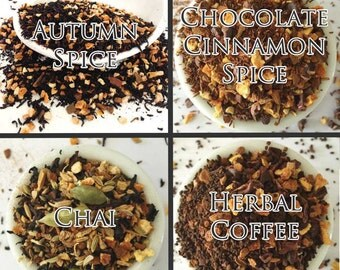 Fall Sample package. 4 sample size teas and infuser